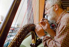 Harp maker Allan Shiers